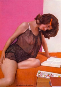 Gloria Dawn in brown wig (published in Cavalier, Jul 62).