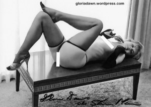 Gloria Dawn by Elmer Batters.  This photo was taken in August 1963 and a slightly different version (with panties drawn on the figure) appeared in Tip Top, Dec 1964.