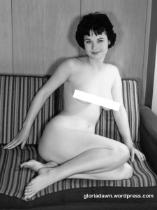 Here I am sitting on the sofa, a full nude.  This photo was never published.