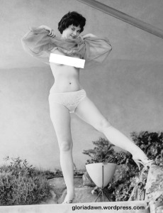LeRoy also took several photos of me standing up on a ledge.  Three were published in Monsieur, 1964, although this one was not among them.  However, a very similar color photo was published in the magazine.