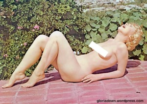 Then Ron took some nude photos of me on the brick steps in front of the house.  This one was published in Tab, 1966.